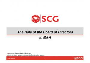 The Role of the Board of Directors in M&A