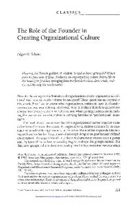 The Role of the Founder in Creating Organizational Culture