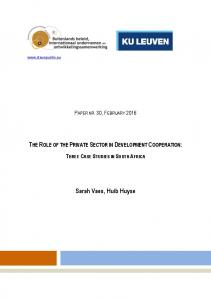 THE ROLE OF THE PRIVATE SECTOR IN DEVELOPMENT COOPERATION: