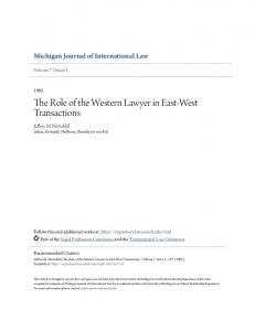 The Role of the Western Lawyer in East-West Transactions