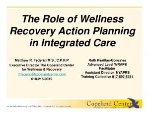 The Role of Wellness Recovery Action Planning in Integrated Care