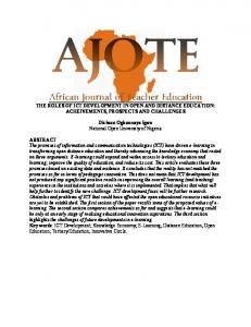 THE ROLES OF ICT DEVELOPMENT IN OPEN AND DISTANCE EDUCATION: ACHEIVEMENTS, PROSPECTS AND CHALLENGES
