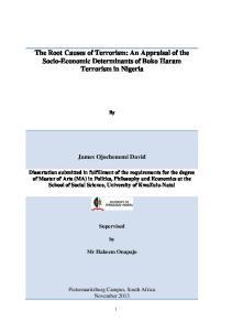 The Root Causes of Terrorism: An Appraisal of the Socio-Economic Determinants of Boko Haram Terrorism in Nigeria