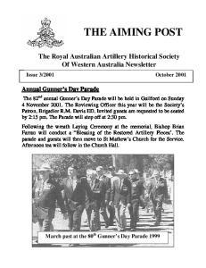 The Royal Australian Artillery Historical Society Of Western Australia Newsletter