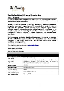 The Rufford Small Grants Foundation Final Report