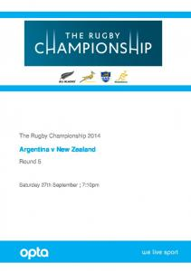 The Rugby Championship Argentina v New Zealand. Round 5. Saturday 27th September ; 7:10pm