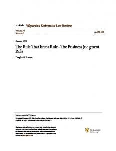 The Rule That Isn't a Rule - The Business Judgment Rule