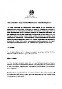 The rules of the Hungarian Bar Association restrict competition