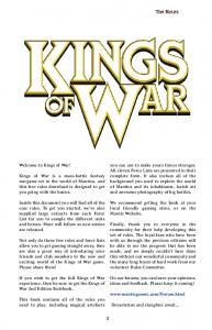The Rules. Welcome to Kings of War!