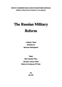The Russian Military Reform