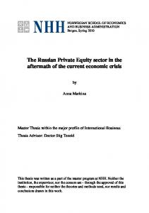 The Russian Private Equity sector in the aftermath of the current economic crisis