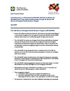 The s100 Remote Aboriginal Health Services Program (s100 RAHSP)