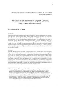 The Salaries of Teachers in English Canada, : A Reappraisal *