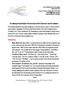 The Sandy Amphitheater Announces its 2012 Summer Concert Season