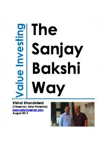 The Sanjay Bakshi Way