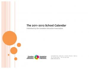 The School Calendar Published by the Canadian Education Association