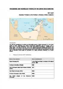 THE SCIENCE AND TECHNOLOGY PROFILE OF THE UNITED ARAB EMIRATES