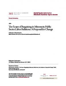The Scope of Bargaining in Minnesota Public Sector Labor Relations: A Proposal for Change