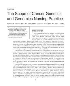 The Scope of Cancer Genetics and Genomics Nursing Practice