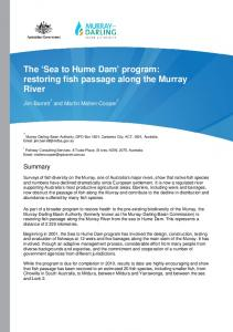 The Sea to Hume Dam program: restoring fish passage along the Murray River