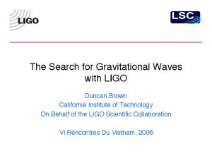 The Search for Gravitational Waves with LIGO