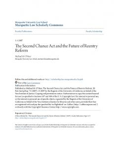 The Second Chance Act and the Future of Reentry Reform