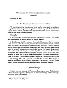The second law of thermodynamics - part I