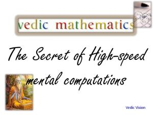 The Secret of High-speed mental computations. Vedic Vision