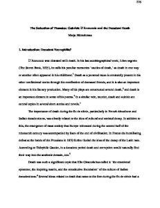 The Seduction of Thanatos: Gabriele D Annunzio and the Decadent Death. Marja Härmänmaa