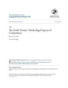 The Senile Testator: Medicolegal Aspects of Competency