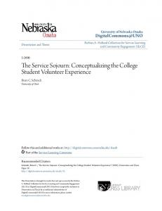 The Service Sojourn: Conceptualizing the College Student Volunteer Experience