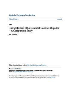 The Settlement of Government Contract Disputes A Comparative Study