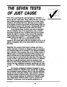 THE SEVEN TESTS OF JUST CAUSE