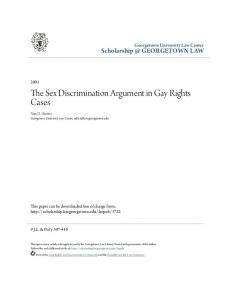The Sex Discrimination Argument in Gay Rights Cases