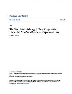 The Shareholder-Managed Close Corporation Under the New York Business Corporation Law