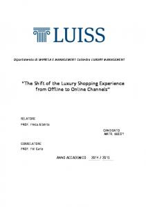 The Shift of the Luxury Shopping Experience from Offline to Online Channels