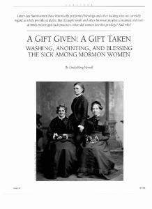 THE SICK AMONG MORMON WOMEN