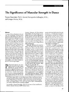 The Significance of Muscular Strength in Dance