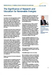 The Significance of Research and Education for Renewable Energies