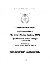 The Silver Jubilee of. The Military Medical Academy (MMA)