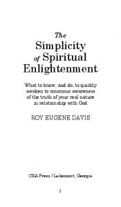 The Simplicity. of Spiritual Enlightenment