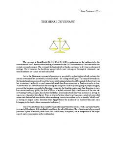 THE SINAI COVENANT. Sinai Covenant