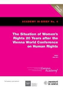 The Situation of Women s Rights 20 Years after the Vienna World Conference on Human Rights