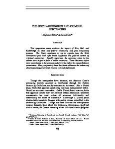 THE SIXTH AMENDMENT AND CRIMINAL SENTENCING