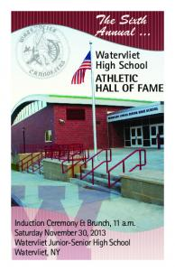 The Sixth Annual... Watervliet High School ATHLETIC HALL OF FAME