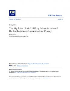 The Sky Is the Limit: UAVs by Private Actors and the Implications to Common-Law Privacy