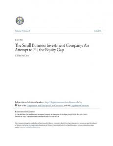 The Small Business Investment Company: An Attempt to Fill the Equity Gap