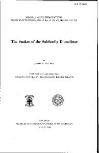 The Snakes of the Subfamily Dipsadinae