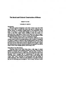 The Social and Cultural Construction of Silence