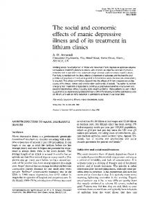 The social and economic effects of manic depressive illness and of its treatment in lithium clinics